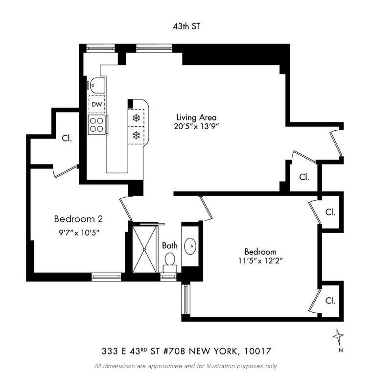 Ny Apt: 333 E 43rd St Apt 708, New York, NY 10017